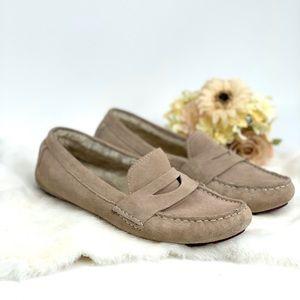 Cole Haan Tan Suede Fur Loafers